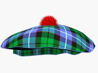 Scotish blue green tartan hat
