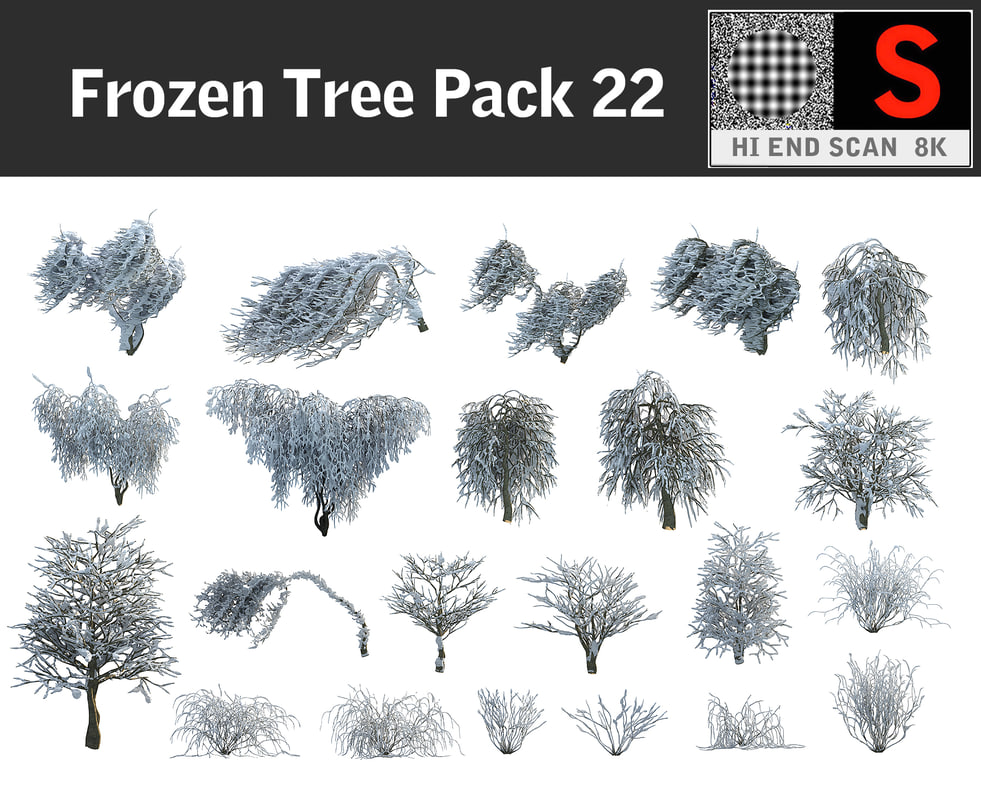 3d model frozen tree pack 22