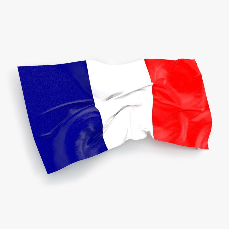 french flag 3d obj