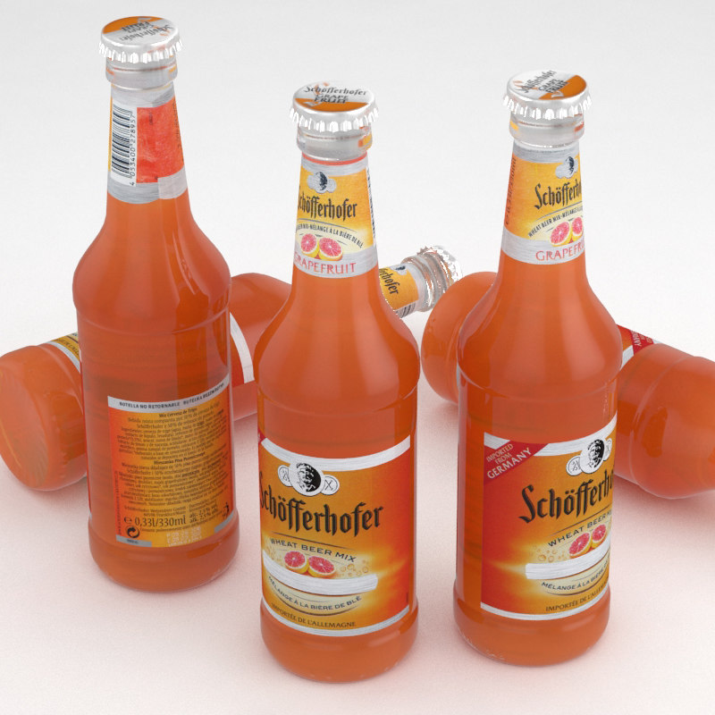 beer bottle grapefruit 3d max