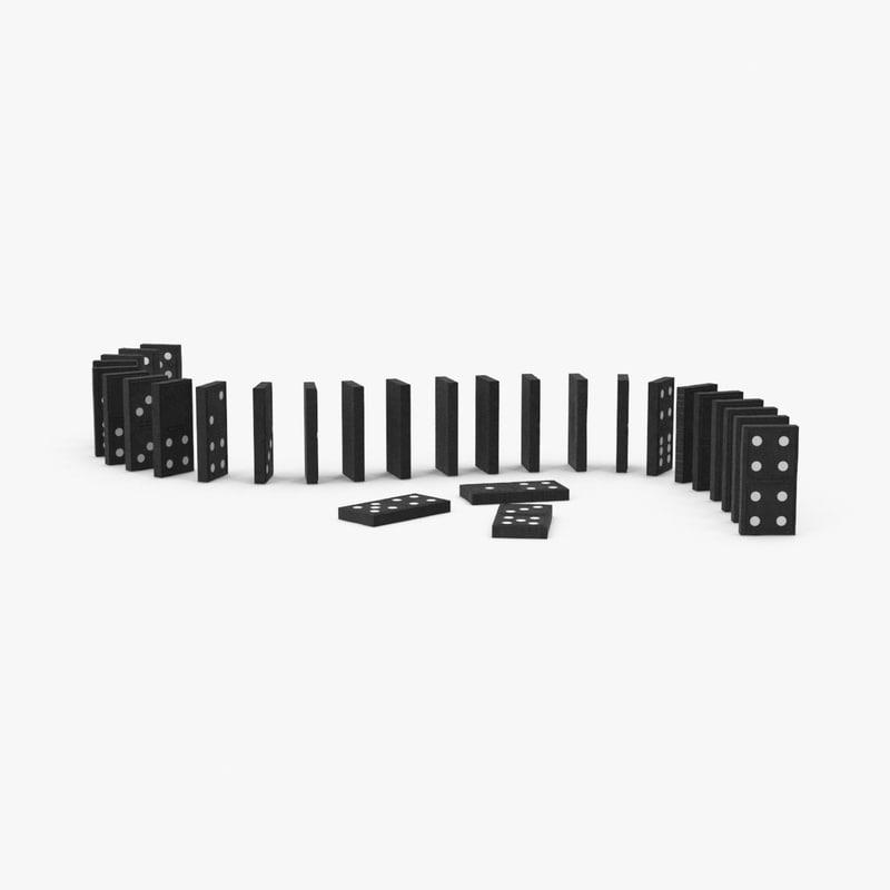 wooden ebony dominoes 3d model