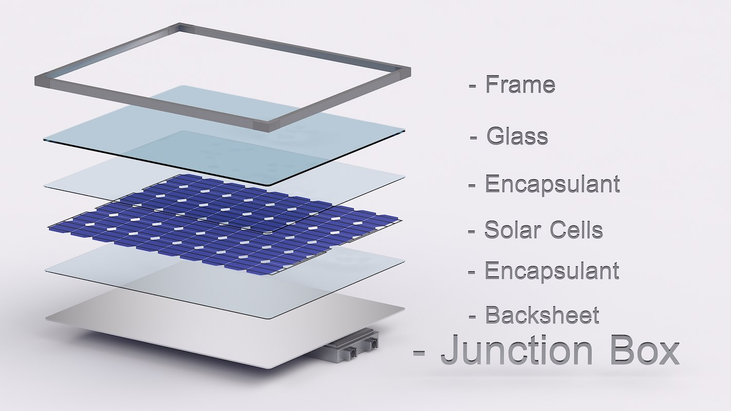 solar panel cell 3d 3ds