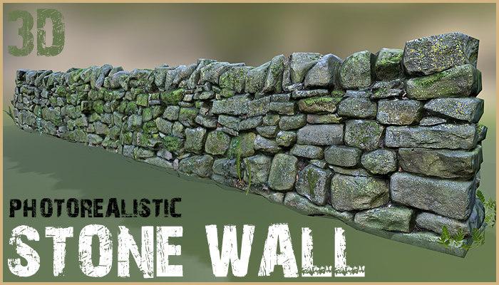 photorealistic stone wall 3d model