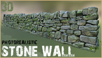 photorealistic stone wall 3d model