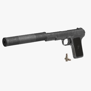 3d model soviet gun silencer tt-33
