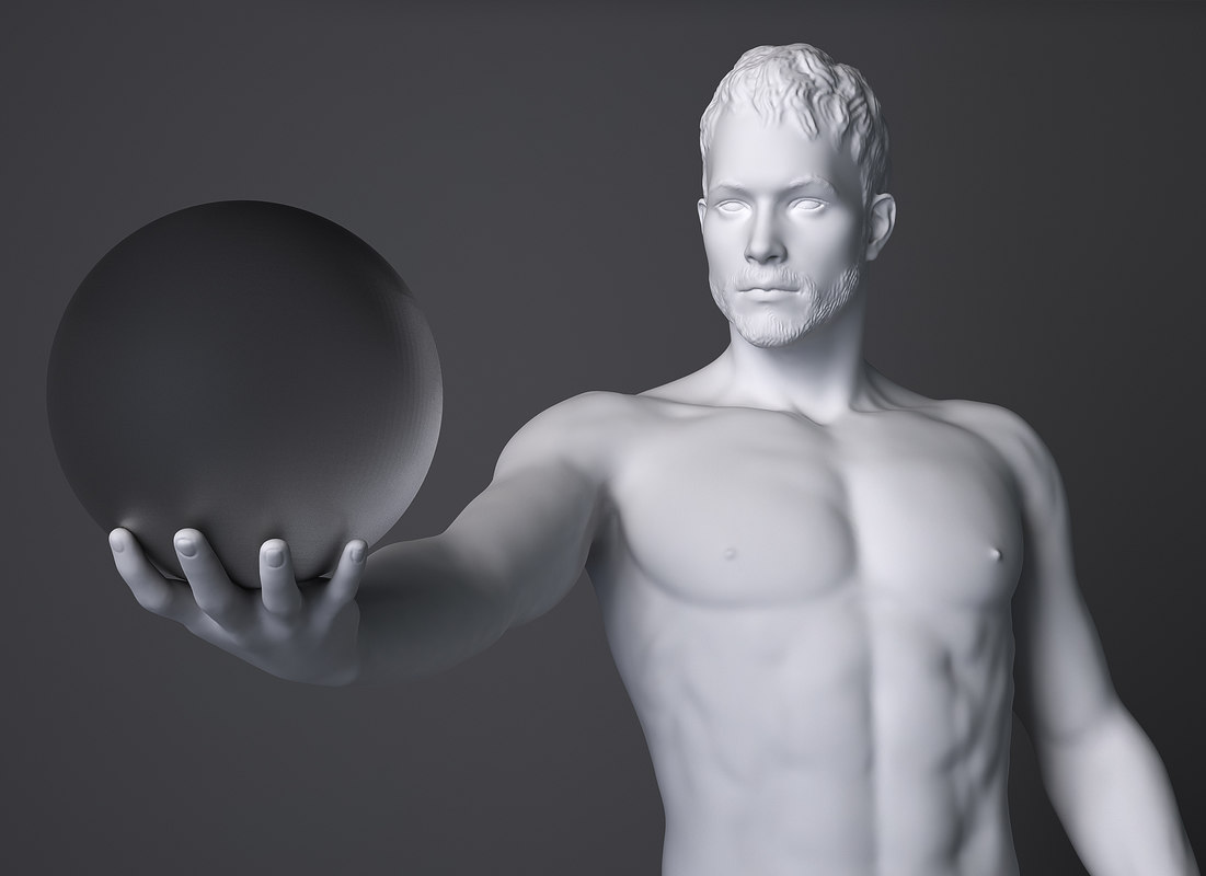 3d male sculpture model