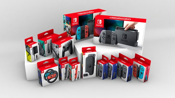 3d model of nintendo switch set boxes
