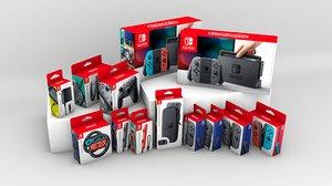 3d model of nintendo switch set boxes
