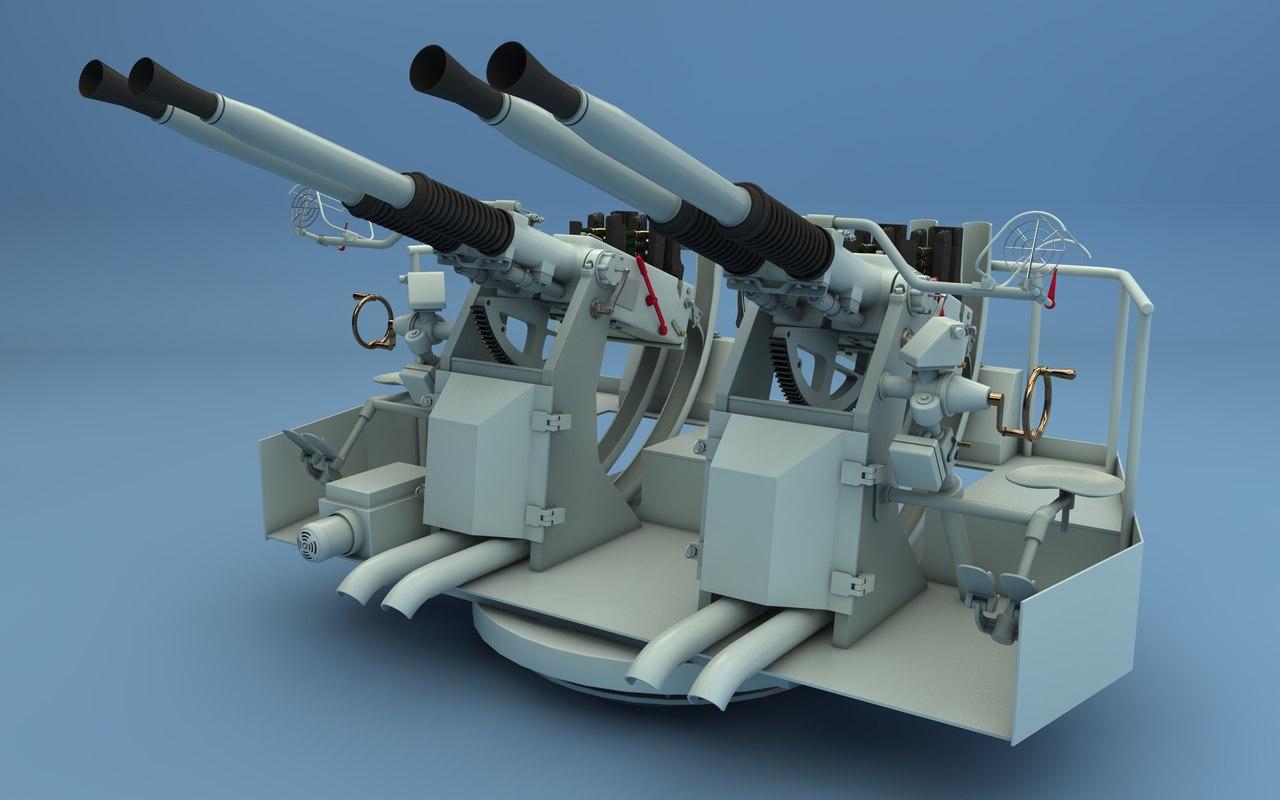 3d c4d 40mm machine gun