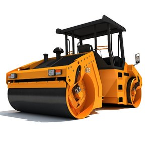 3d model of asphalt road roller