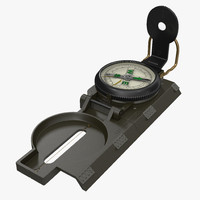 army pocket multifunction compass 3d model