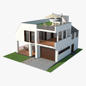 contemporary house grass roof 3d model