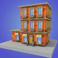 3d stylized building model