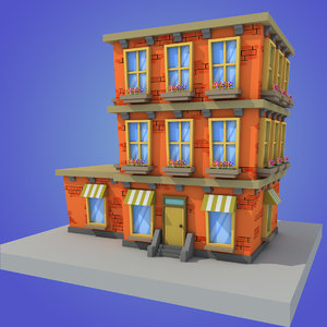 3d stylized building model