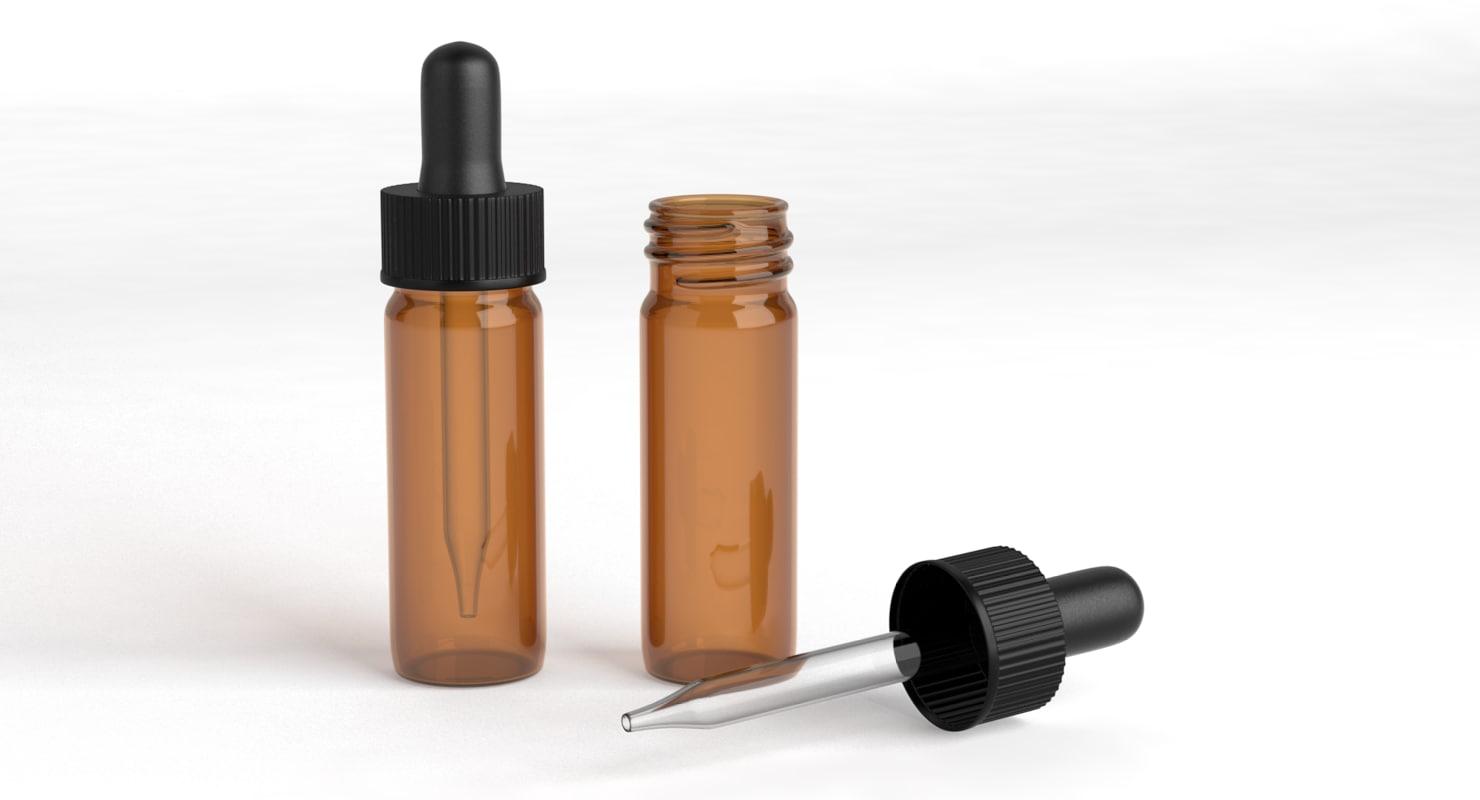 glass vials droppers 3d model