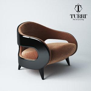 armchair turri miller 3d model