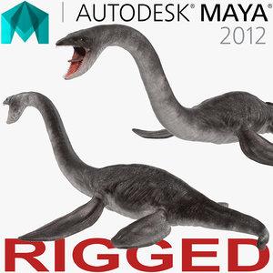 plesiosauria marine reptile dinosaur 3d model