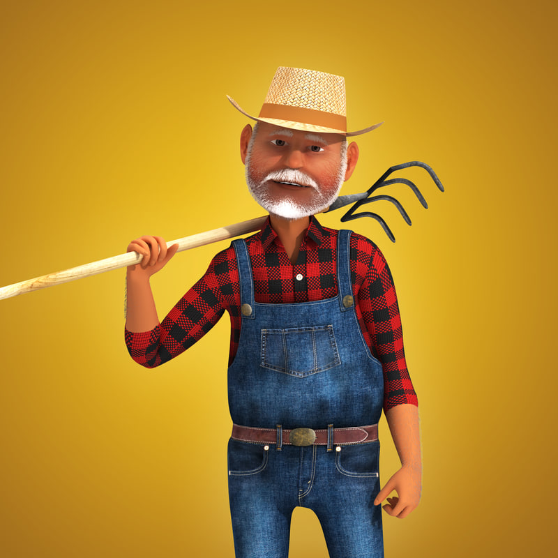 rigged cartoon farmer 3d model
