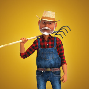 rigged cartoon farmer 3d model