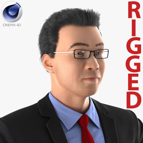 asian businessman rigged 3d c4d