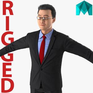 asian businessman rigged 3d ma