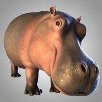 3d rigged hippopotamus