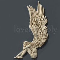 3d stl model angel for cnc router