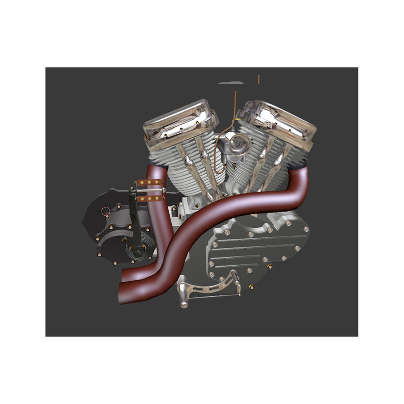 engine motorcycle 3d blend