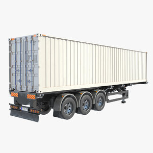 3d model of trailer container refrigerator
