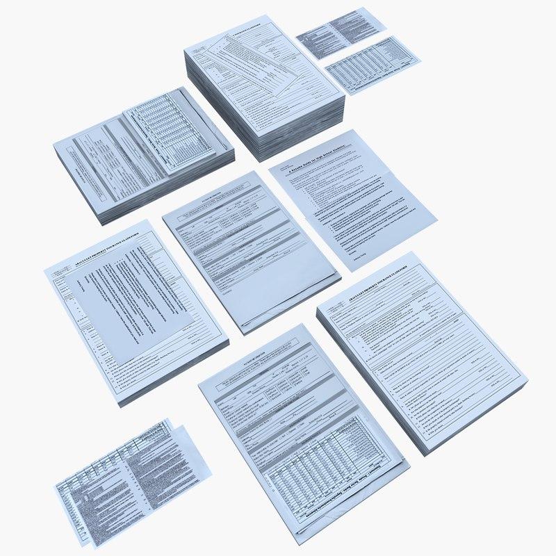 desk paperwork documents 3d model