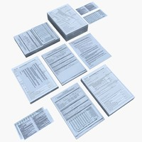 desk paperwork documents 3d model
