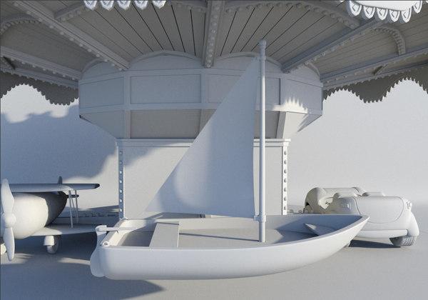 3d model amusement park carousel