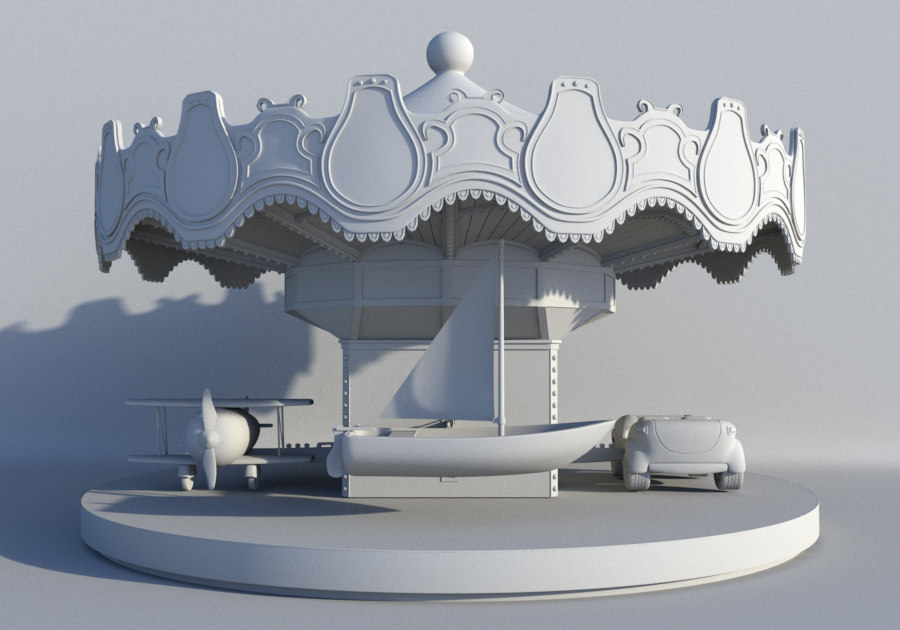 3d model amusement park carousel