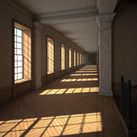 3d corridor rooms model