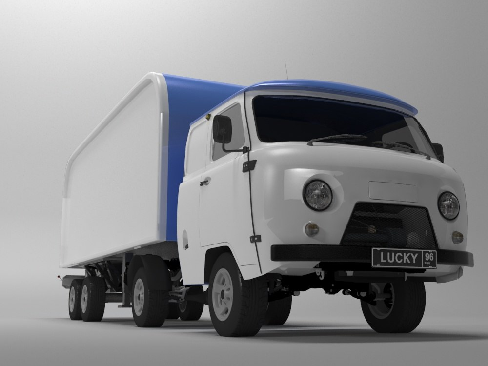 uaz semitrailer 3d model