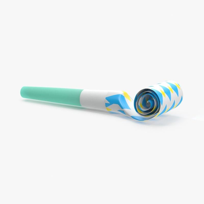 party horn 03 blue 3d model