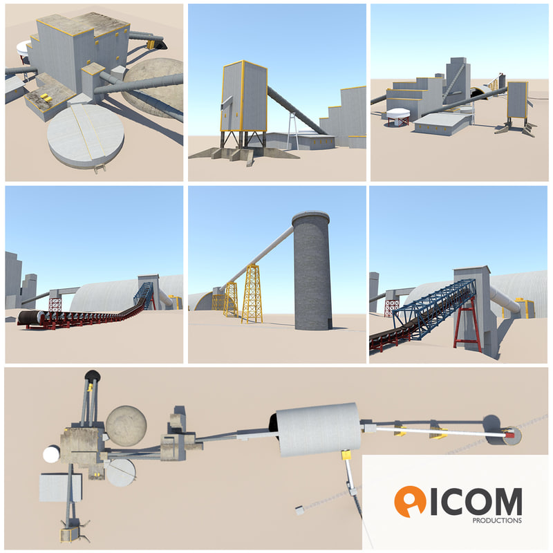 industrial processing units buildings 3d 3ds