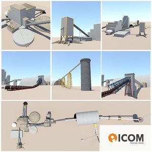 industrial processing units buildings 3d 3ds