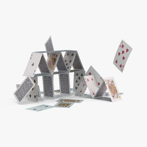 3d model falling house cards