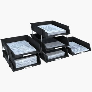 letter trays 3d model