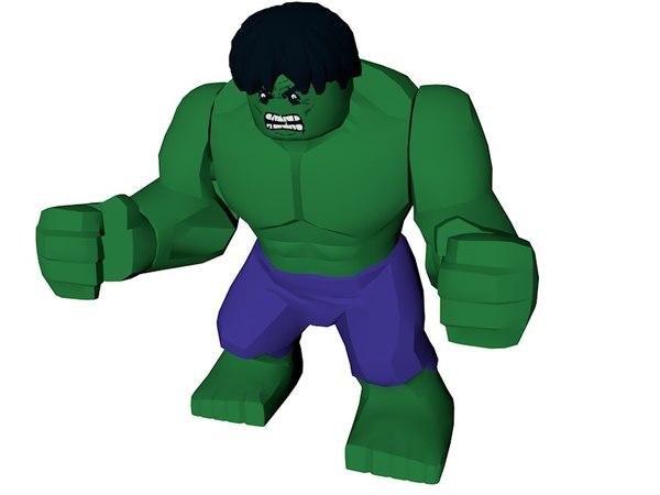 3d lego hulk model