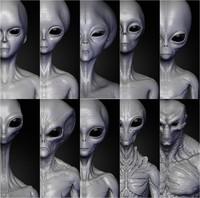 3d realistic aliens sculpts