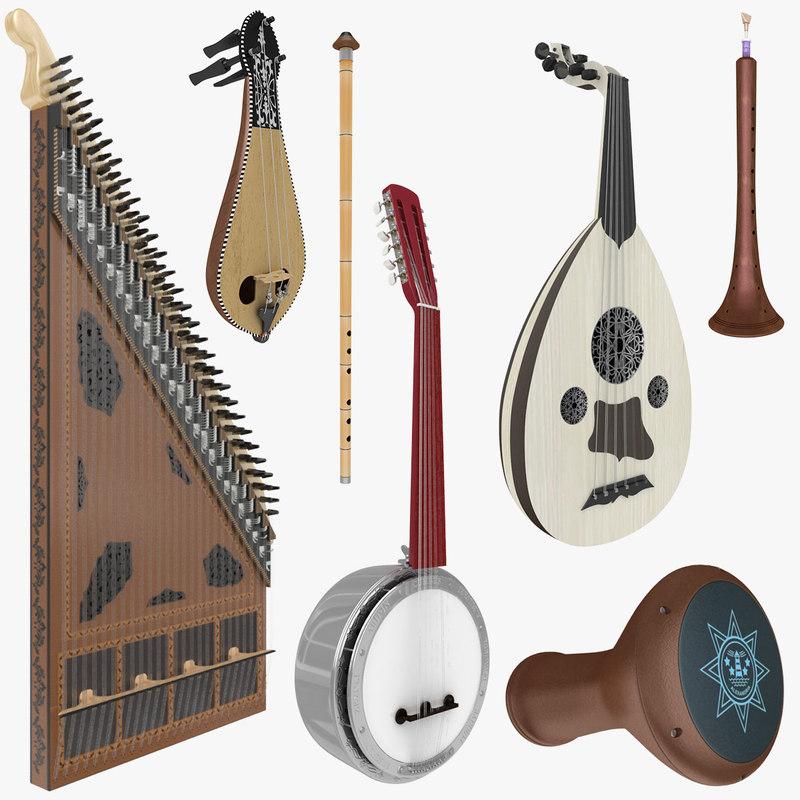 turkish musical instruments 3d model