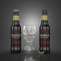 guinness extra stout beer glass 3d model