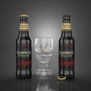 guinness extra stout beer glass 3d obj