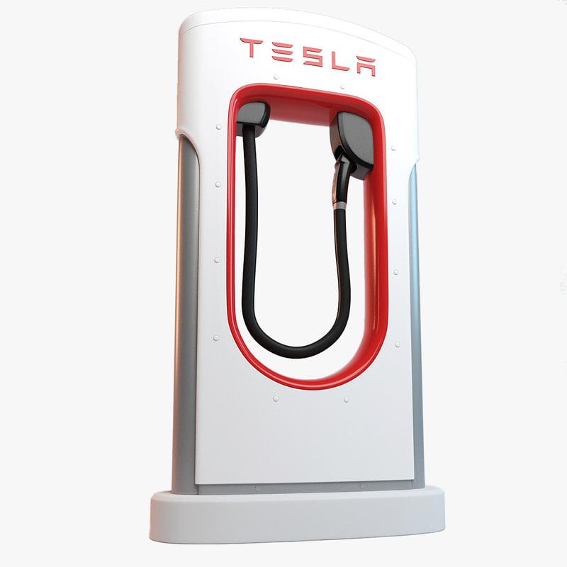 3d tesla supercharger charger model