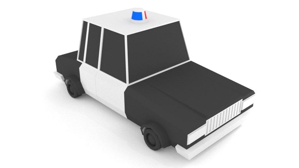 blender police car 3d model