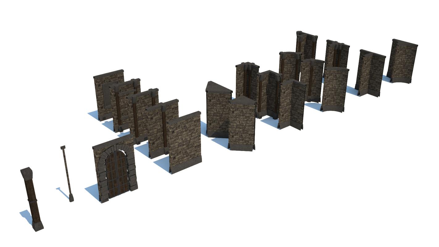 3d modular dungeon construction model