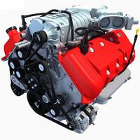 3d model v8 engine