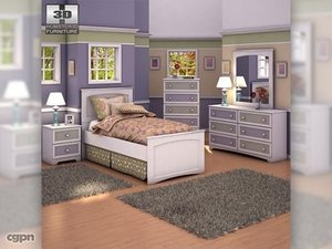 ashley sandhill panel bedroom 3d obj